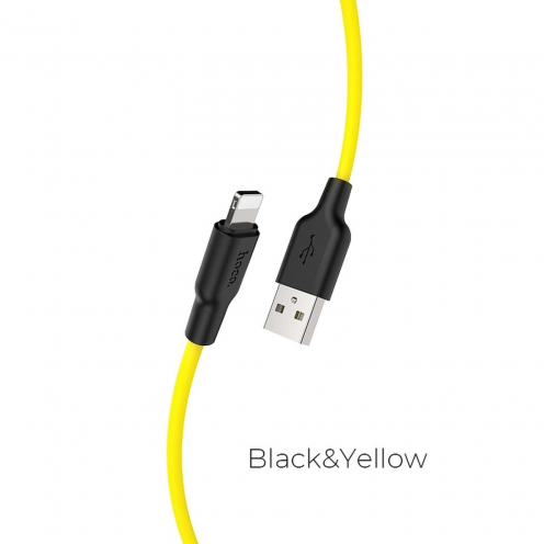HOCO Plus Silicone charging data cable for Iphone Lightning 8-pin X21 0,25 meter black&yellow