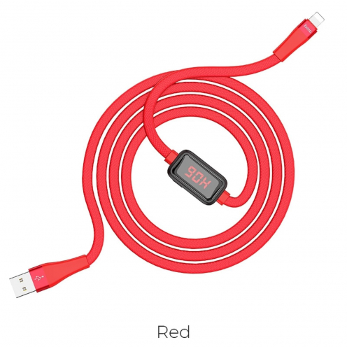 Hoco Selected® Charging data cable with timing display for Lightning 8-pin S4 red
