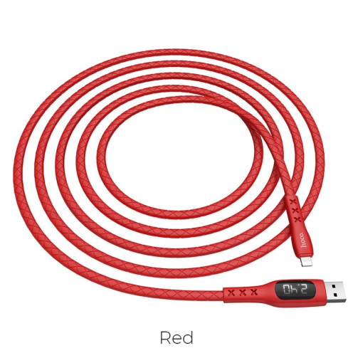 Hoco Selected® Sentinel charging data cable with timing display for Lightning 8-pin S6 red