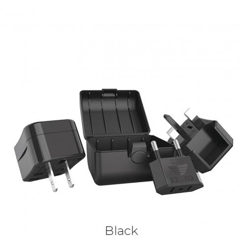 HOCO travel charger universal convertel (EU/US/UK/AU) AC1 black