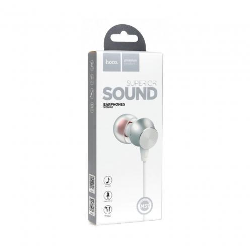 HOCO earphones Proper sound with mic M51 white