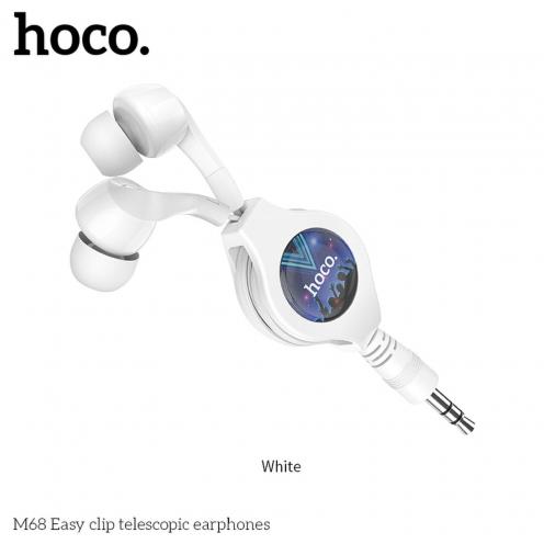 HOCO eaphones Easy clip telescopic M68 white
