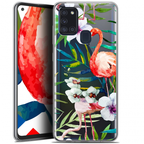 "Carcasa Gel Extra Fina Samsung Galaxy A21S (6.5"") Watercolor Tropical Flamingo"