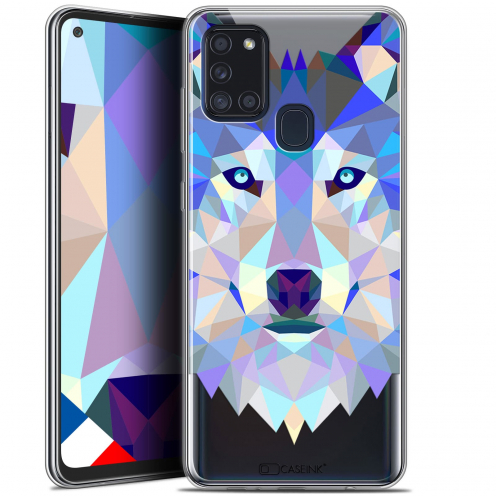 "Carcasa Gel Extra Fina Samsung Galaxy A21S (6.5"") Polygon Animals Lobo"
