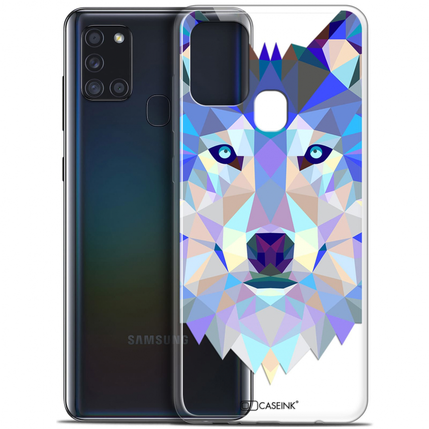 "Carcasa Gel Extra Fina Samsung Galaxy A21S (6.5"") Polygon Animals Lobo"