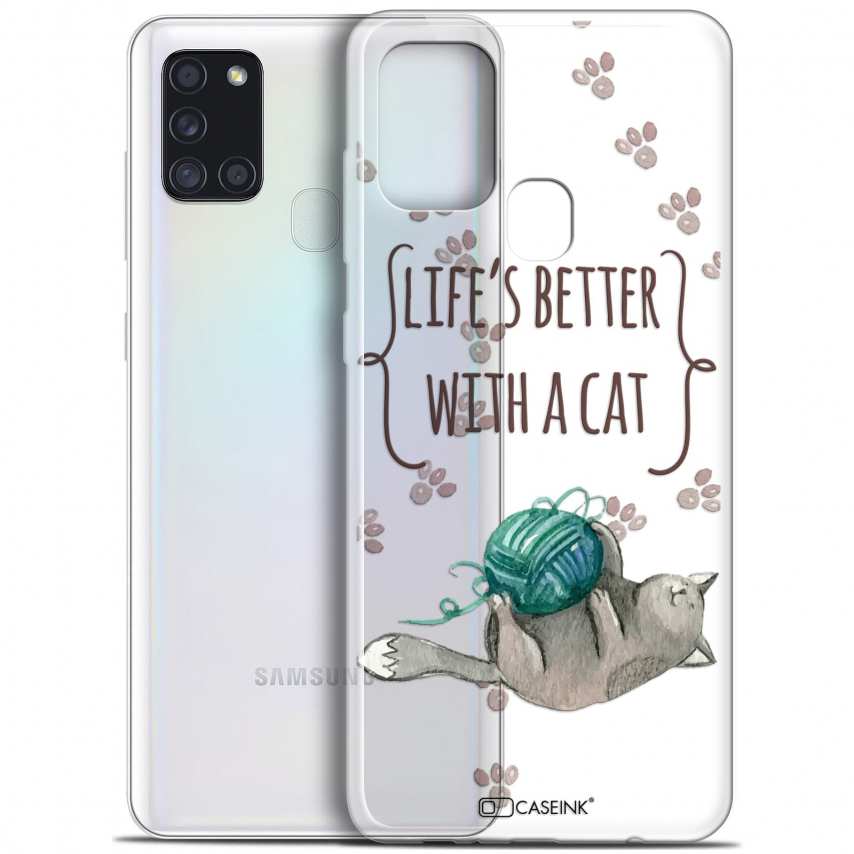 """Carcasa Gel Extra Fina Samsung Galaxy A21S (6.5"""") Quote Life's Better With a Cat"""