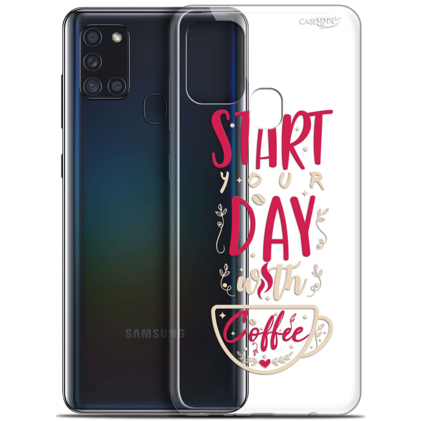 "Carcasa Gel Extra Fina Samsung Galaxy A21S (6.5"") Design Start With Coffee"