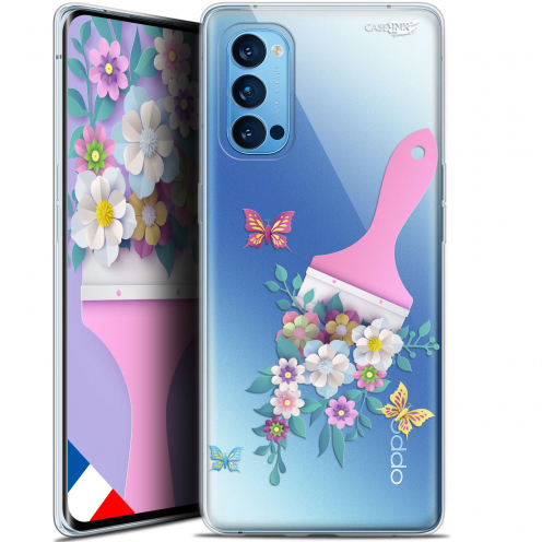 "Carcasa Gel Extra Fina Oppo Reno 4 Pro 5G (6.5"") Design Pinceau à Fleurs"