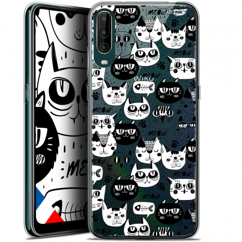 """Carcasa Gel Extra Fina Wiko View 4 (6.5"""") Design Chat Noir Chat Blanc"""