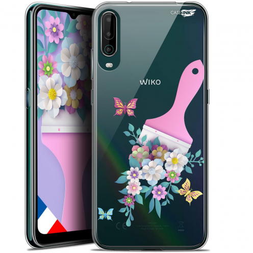 "Carcasa Gel Extra Fina Wiko View 4 (6.5"") Design Pinceau à Fleurs"