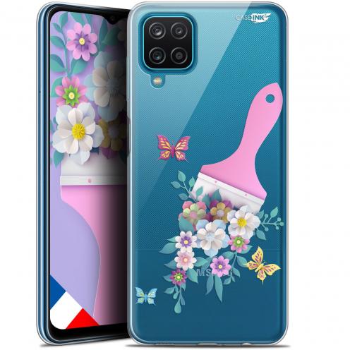 "Carcasa Gel Extra Fina Samsung Galaxy A12 (6.5"") Design Pinceau à Fleurs"
