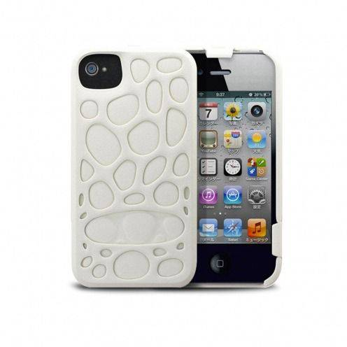 Casco Freshfiber® Peeble Double Cap iPhone 4S/4 Blanco