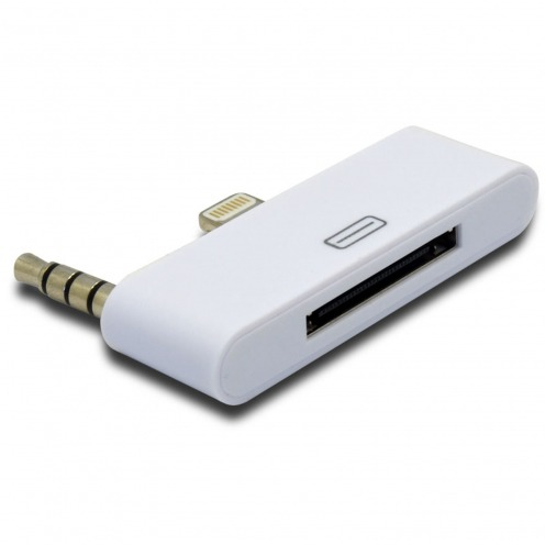 Adaptador Audio 30 clavijas hacia 8 pines Blanco Compatible iPhone 5/5S/SE/C