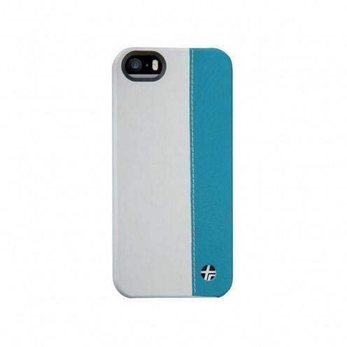Carcasa cuero verdadero Trexta® Duo Bimaterial Blanca y Turquesa iPhone 5 - 5S