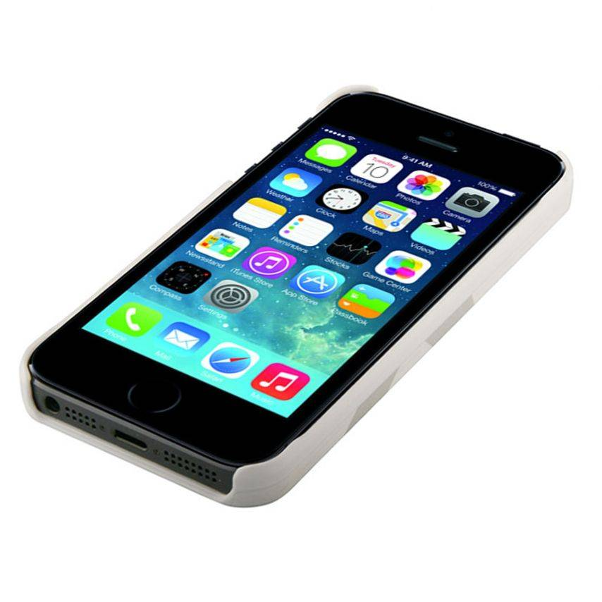 Shell cuero genuino Trexta ® Duo bi Blanco & Turquesa iPhone 5S - 5