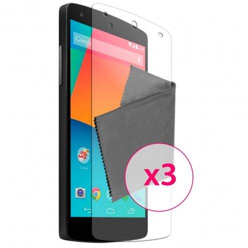 Clubcase ® protección anti películas huellas dactilares LG Nexus 5 juego de 3