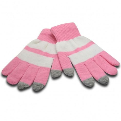 iTouch - guantes táctiles iPhone especial rosa y blanco - Talla S