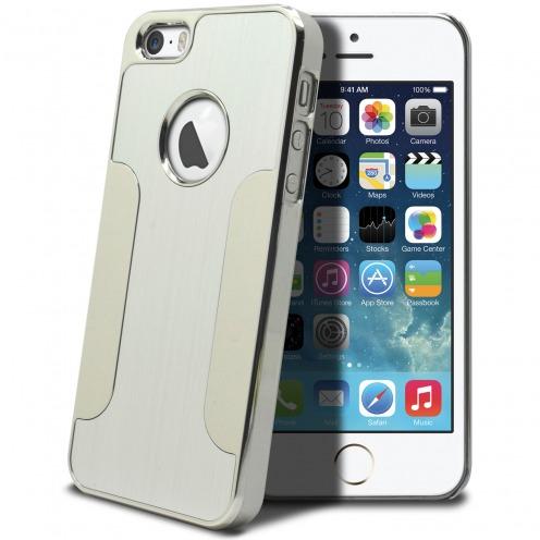 Casco iPhone 5S / 5 aluminio cromo colores cepillo plata