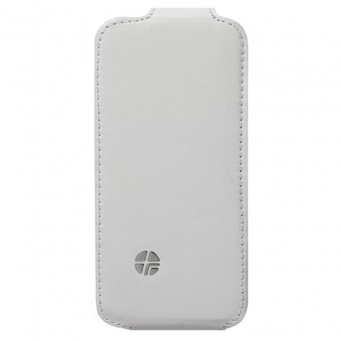 Funda cuero verdadero con tapa giratoria Trexta ® Flippo Blanco iPhone 5 / 5S