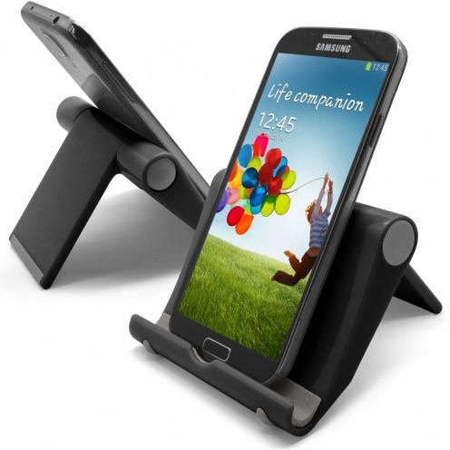 Soporte de oficina universal para smartphones y tabletas negro brillante