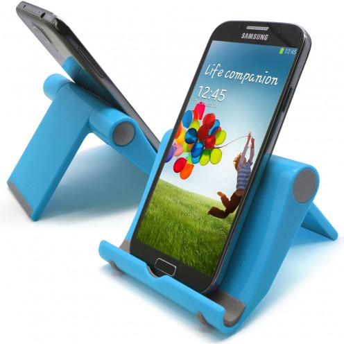 Soporte de oficina universal para smartphones y tabletas azul fluo