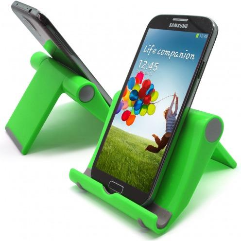 Soporte de oficina universal para smartphones y tabletas verde fluo
