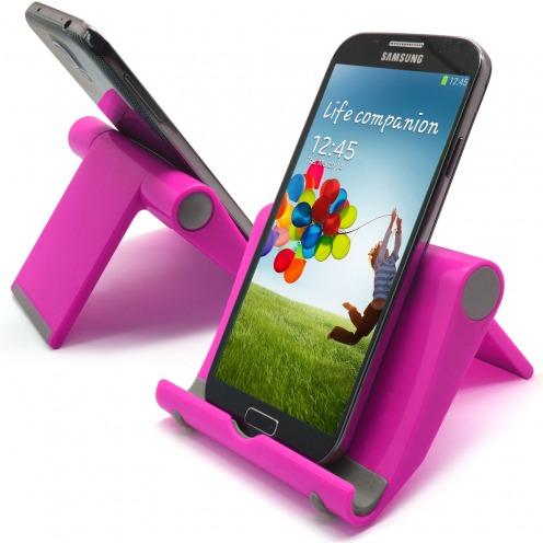 Soporte de oficina universal para smartphones y tabletas rosa fluo