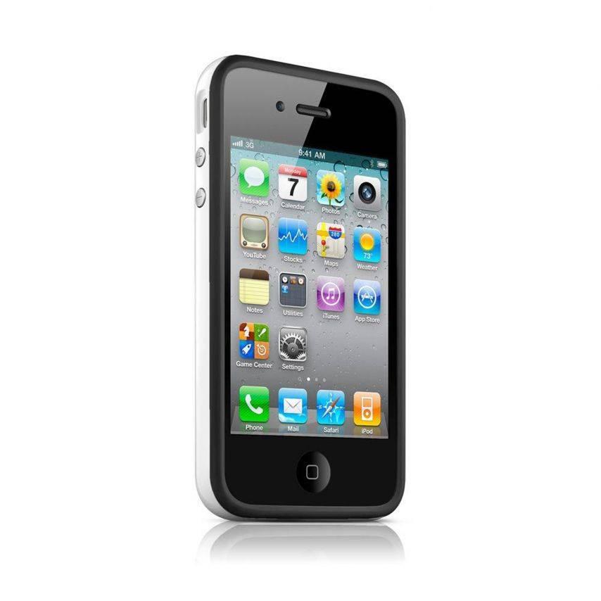 HQ del tope del casco negro / blanco para iPhone 4 S / 4
