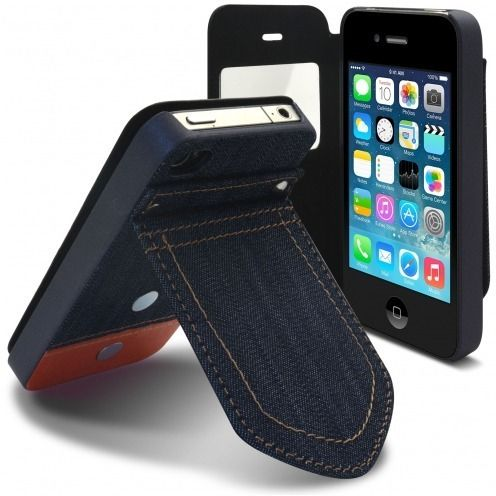 Carcasa Folio para Apple iPhone 4 / 4S Jeans Pocket Soporte Naranja