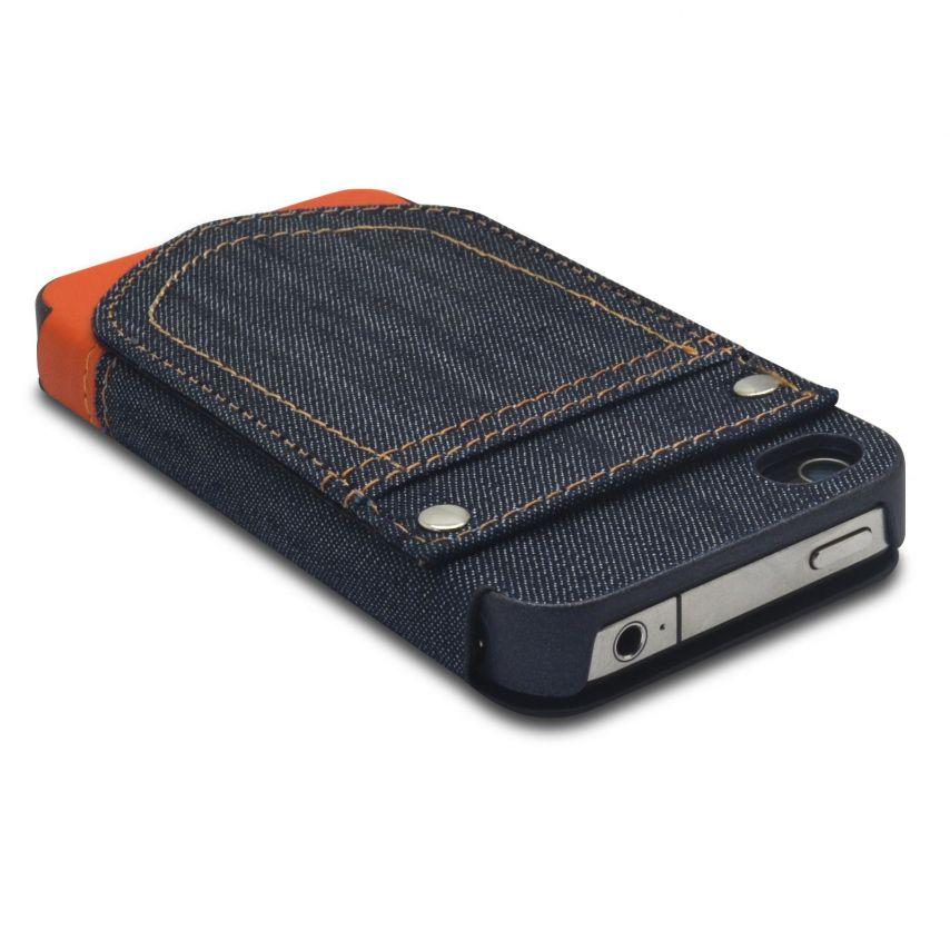Carcasa Folio para Apple iPhone 4 / 4S Jeans Pocket Soporte Naranja