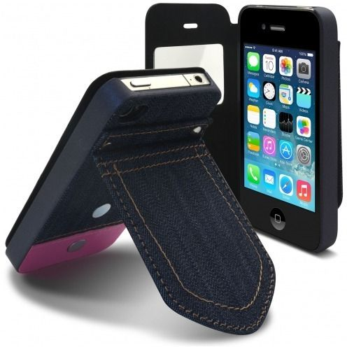Carcasa Folio para Apple iPhone 4 / 4S Jeans Pocket Soporte Rosa