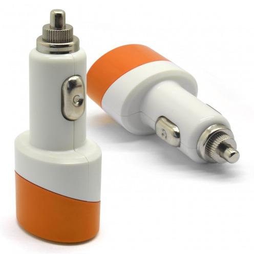 Micro Cargador Coche / mechero Doble USB 2.1A + 1A Color Series Naranja