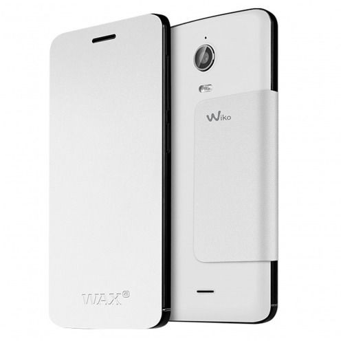 Funda Original Wiko® Folio Stand Back Cover Blanco para Wiko Wax