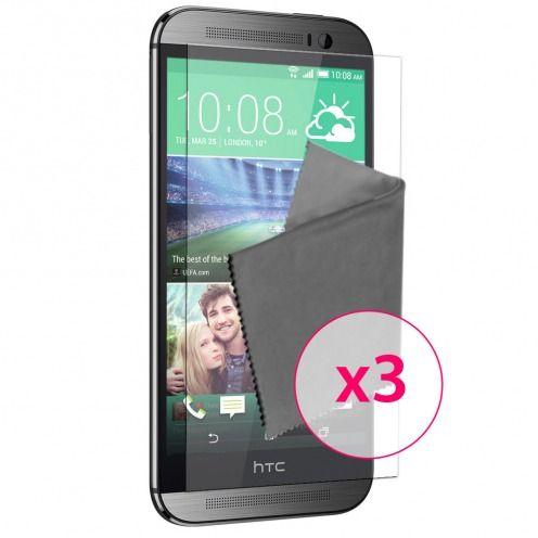 Clubcase ® protección anti películas huellas dactilares HTC One M8 juego de 3