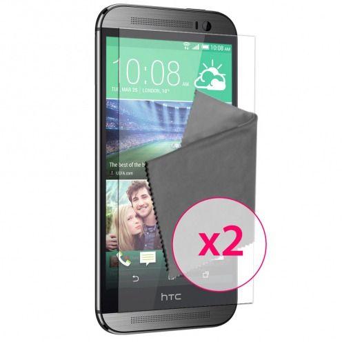 Clubcase ® protección anti películas huellas dactilares HTC One M8 juego de 2