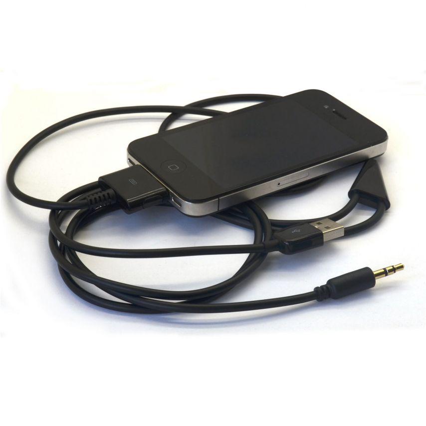 Cable de sincronización iPhone 3G/4/4S con Audio Jack 3.5mm Negro