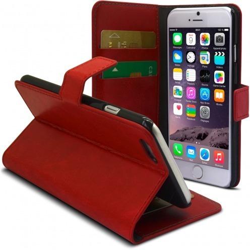 Smart Cover iPhone 6 de cuero sintético jaspeado Roja