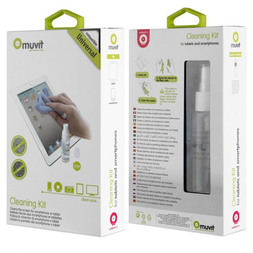 Kit de limpieza para pantallas universal Muvit® Smartphone y Tableta