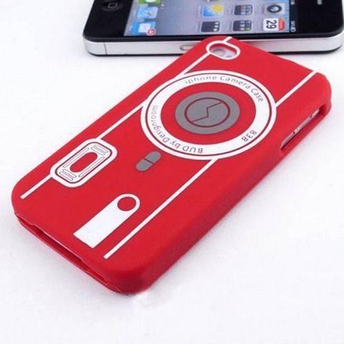 Funda Silicona Cámara Roja para iPhone 4S / 4