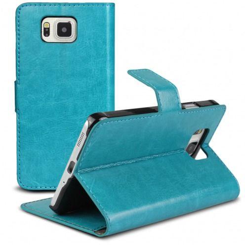 Smart Cover Galaxy Alpha de cuero sintético jaspeado Azul