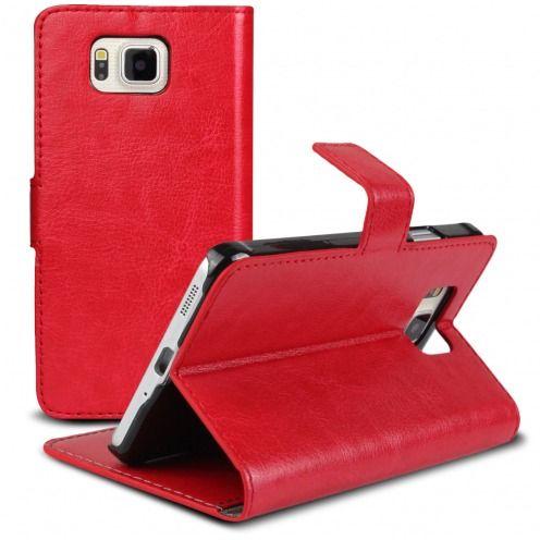 Smart Cover Galaxy Alpha de cuero sintético jaspeado Roja