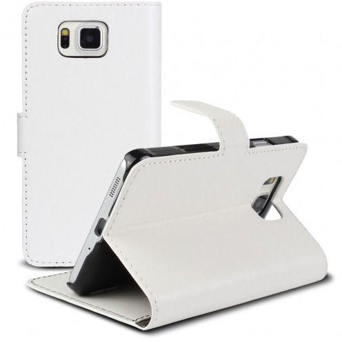Smart Cover Galaxy Alpha de cuero sintético jaspeado Blanca
