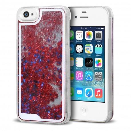 faeddc8251d Carcasa Crystal Glitter Liquid Diamonds Roja iPhone 4/4S
