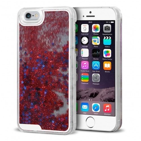 Carcasa Crystal Glitter Liquid Diamonds Roja iPhone 6