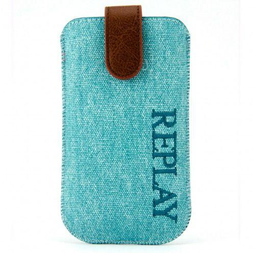 Funda Bolsa iPhone 4/4S Replay® Denim Genuino Aqua Azul