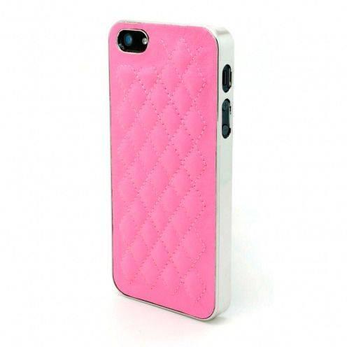 Carcasa iPhone 5 / 5S / SE DELUXE Cuero & Cromado Rosa