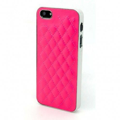 Carcasa iPhone 5 / 5S / SE DELUXE Cuero & Cromado Fucsia