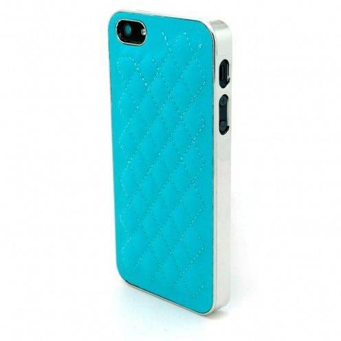 Carcasa iPhone 5 / 5S / SE DELUXE Cuero & Cromado Azul
