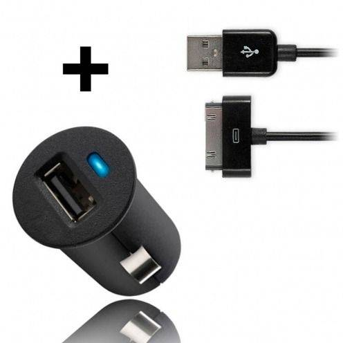 Mini Cargador Coche / mechero USB con Cable de Datos Negro iPhone 3G/S/4/S