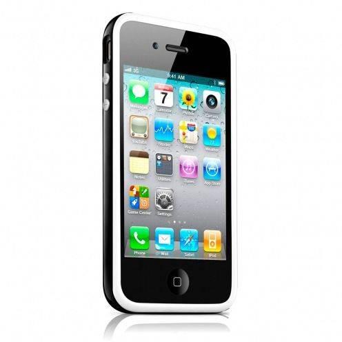 Carcasa Bumper HQ Blanco / Negro para iPhone 4S / 4